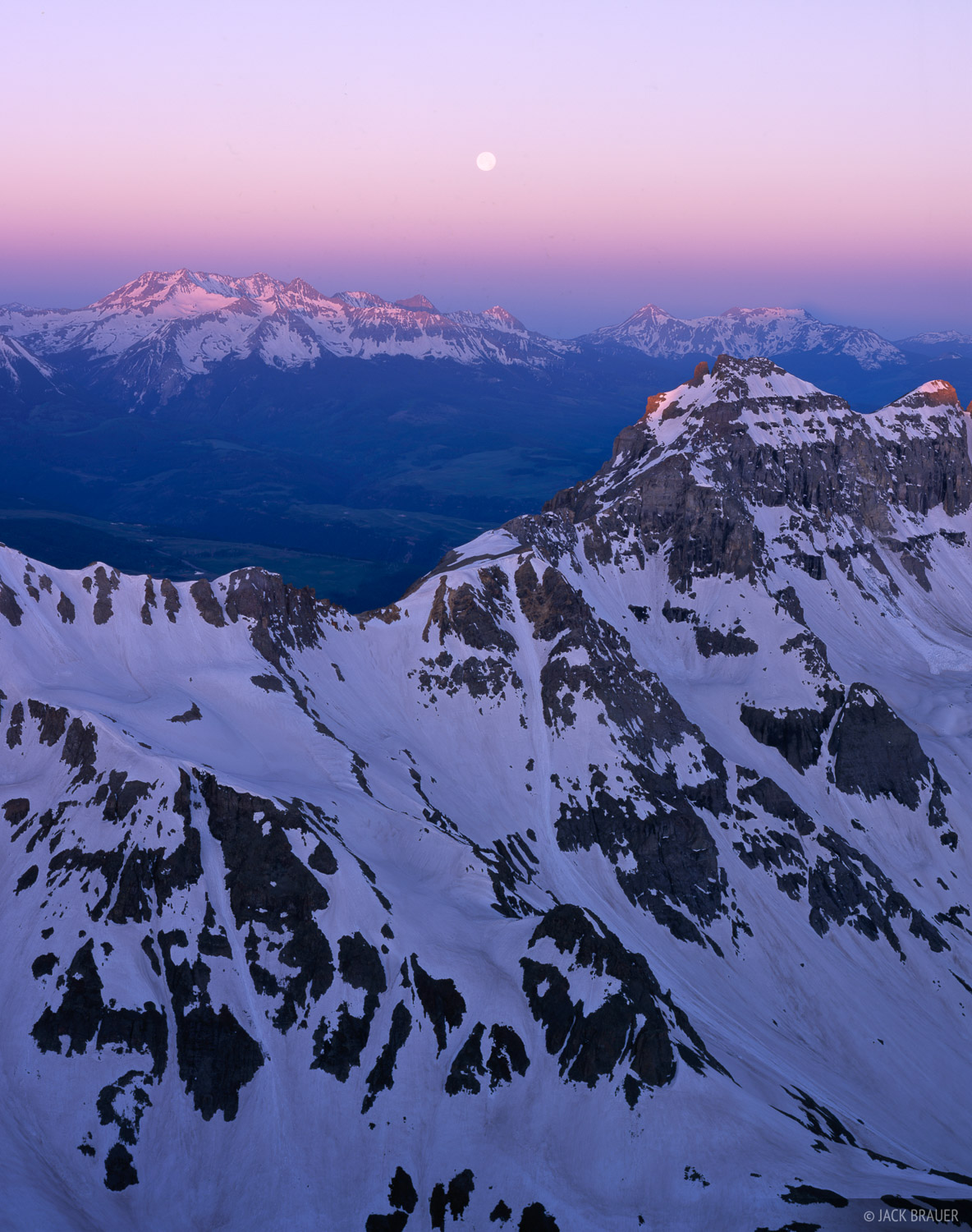 San Miguel Range, moonset, San Juan Mountains, Colorado, photo