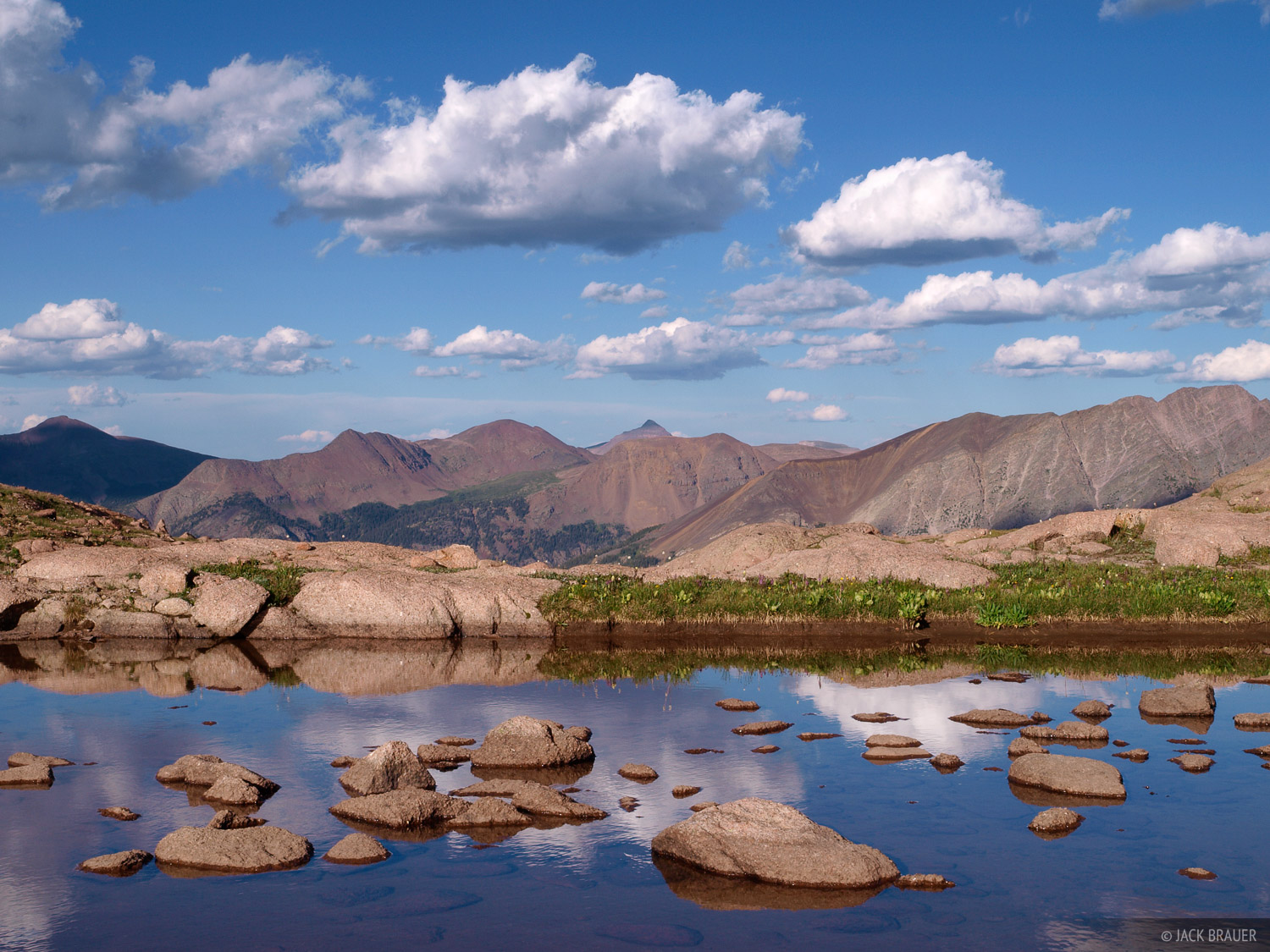 clouds, rocks, reflection, Weminuche Wilderness, Colorado, photo