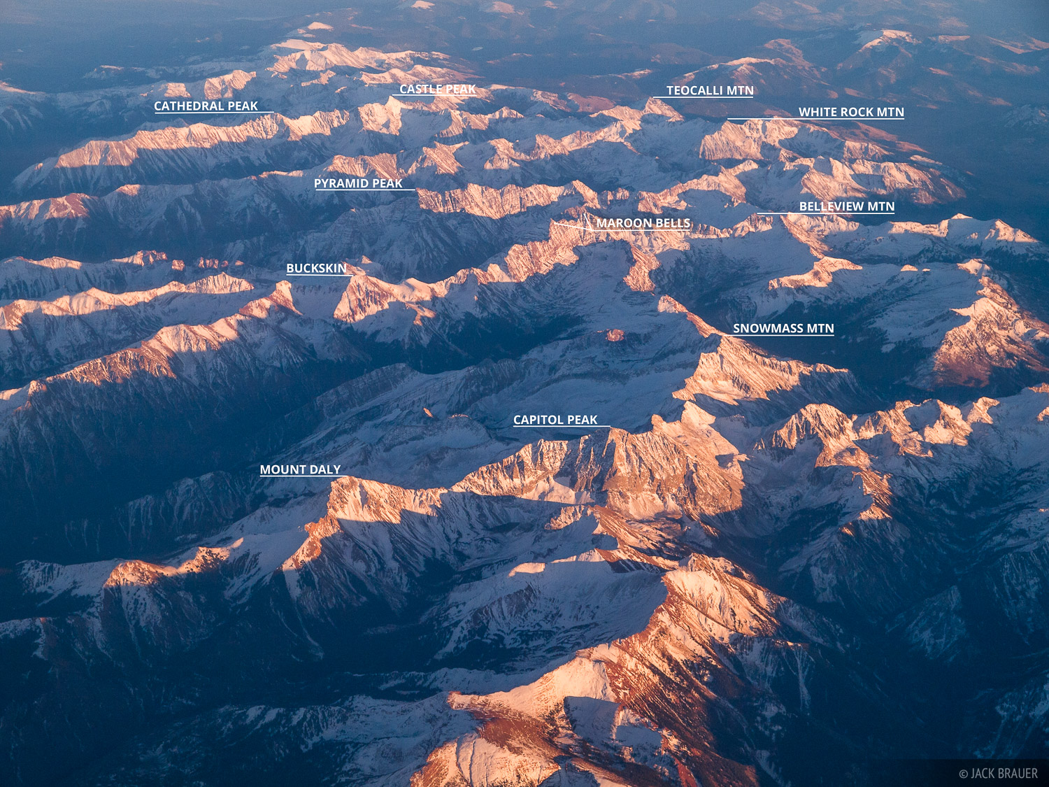 Colorado, aerial, Elk Mountains, 14ers, Capitol Peak, Maroon Bells, Snowmass Mountain, Maroon Bells-Snowmass Wilderness, photo