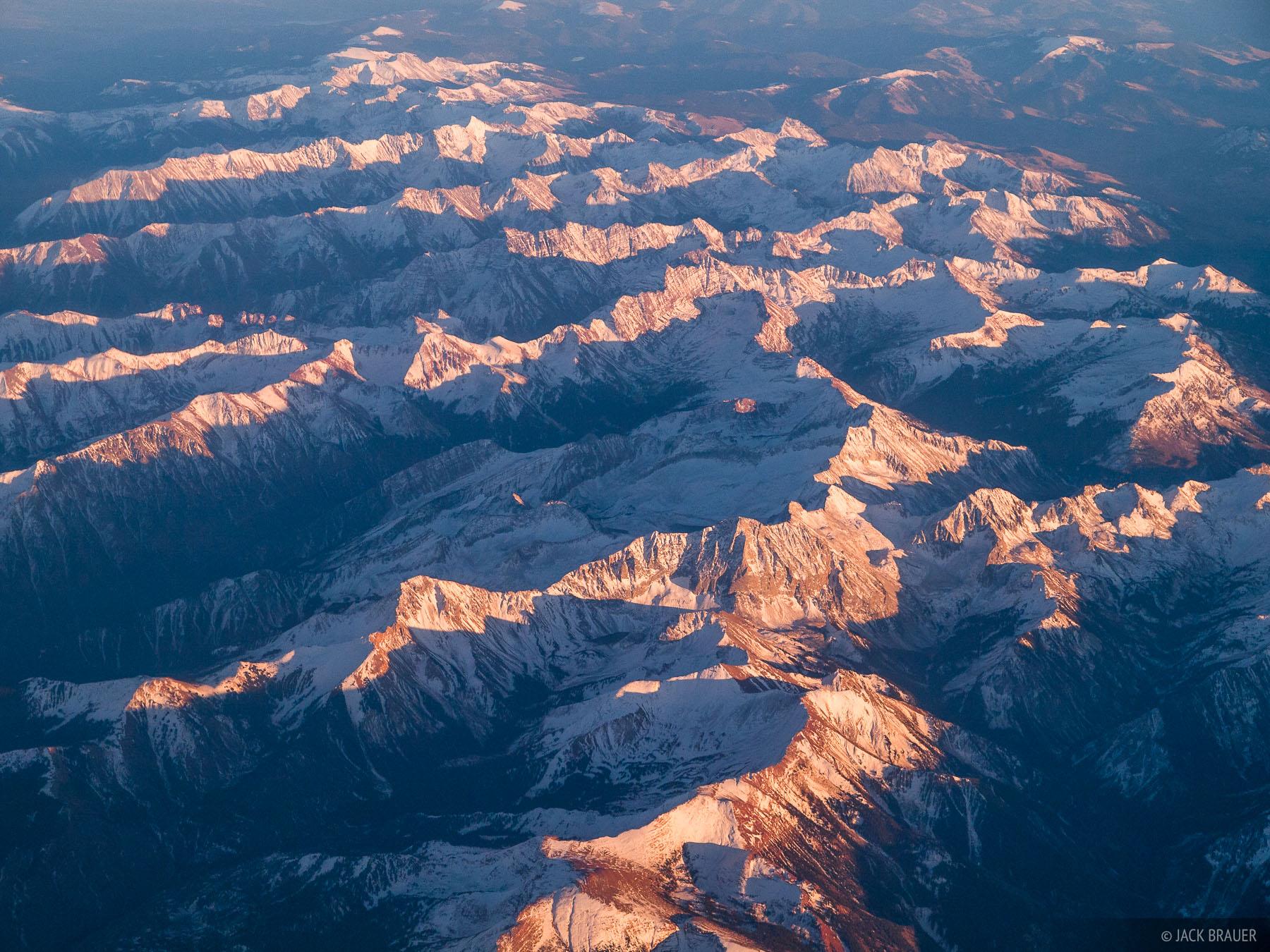 Colorado, aerial, Elk Mountains, 14ers, Capitol Peak, Maroon Bells, Snowmass Mountain, photo