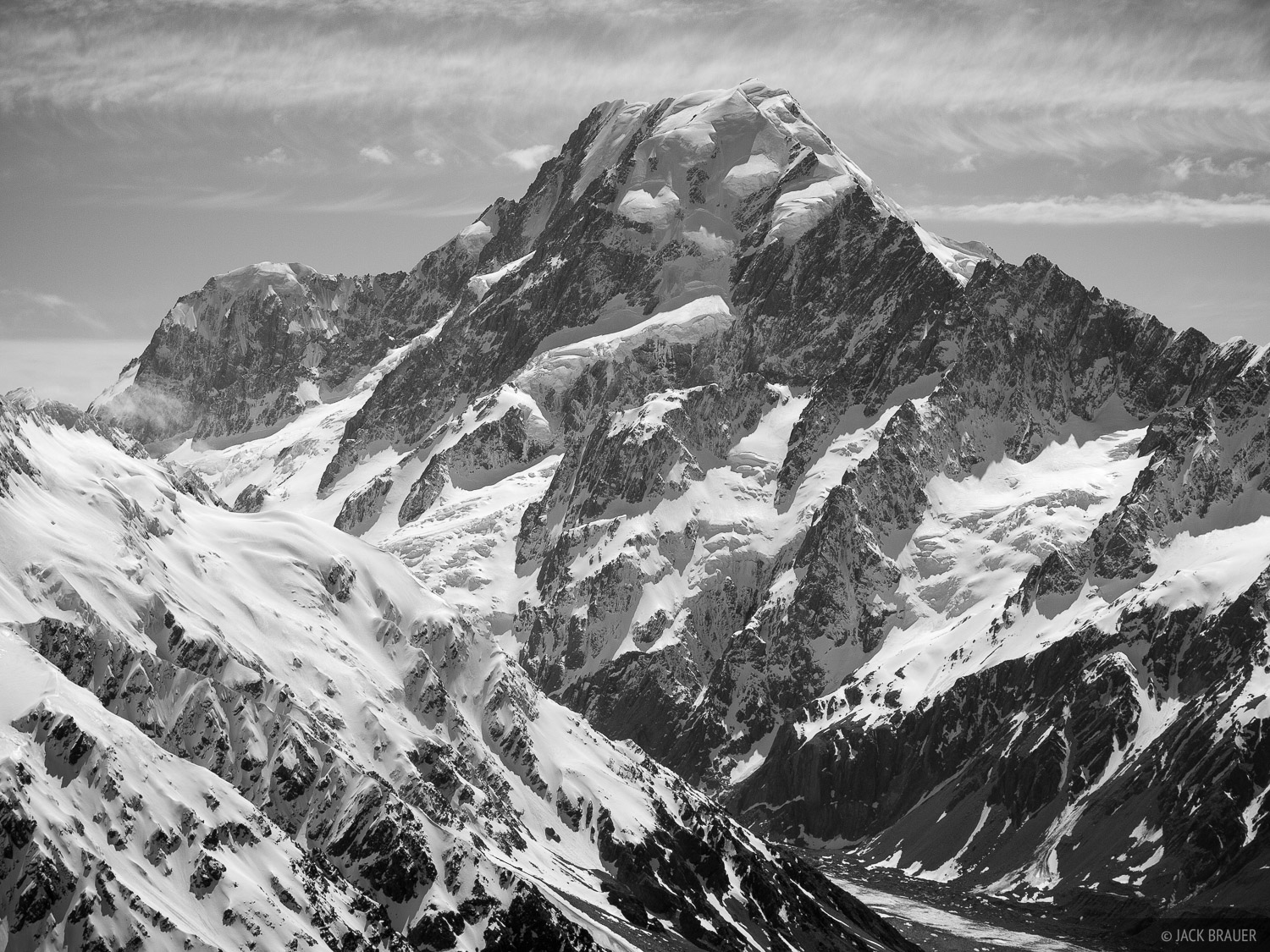New Zealand, Aoraki, Mount Cook, bw, Southern Alps, photo