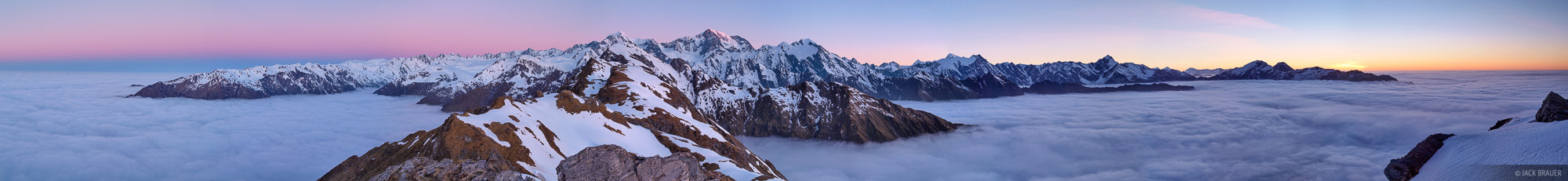 Southern Alps, panorama, Mt. Cook, Tasman Sea, New Zealand