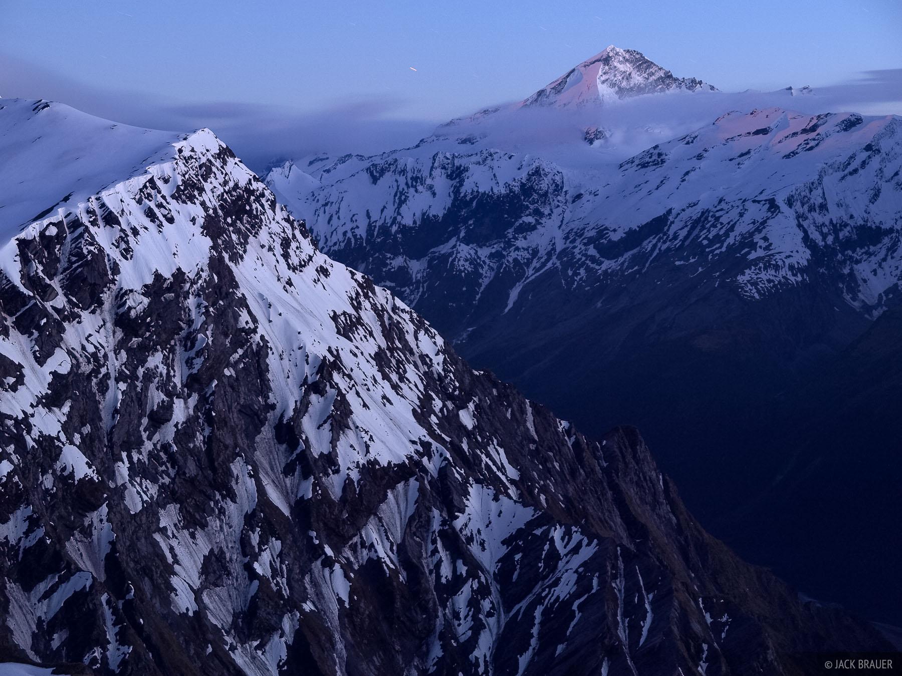 Mount Aspiring, moonset, dawn, New Zealand, photo