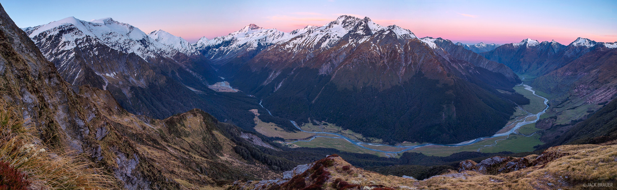Matukituki, panorama, Mt. Aspiring, New Zealand