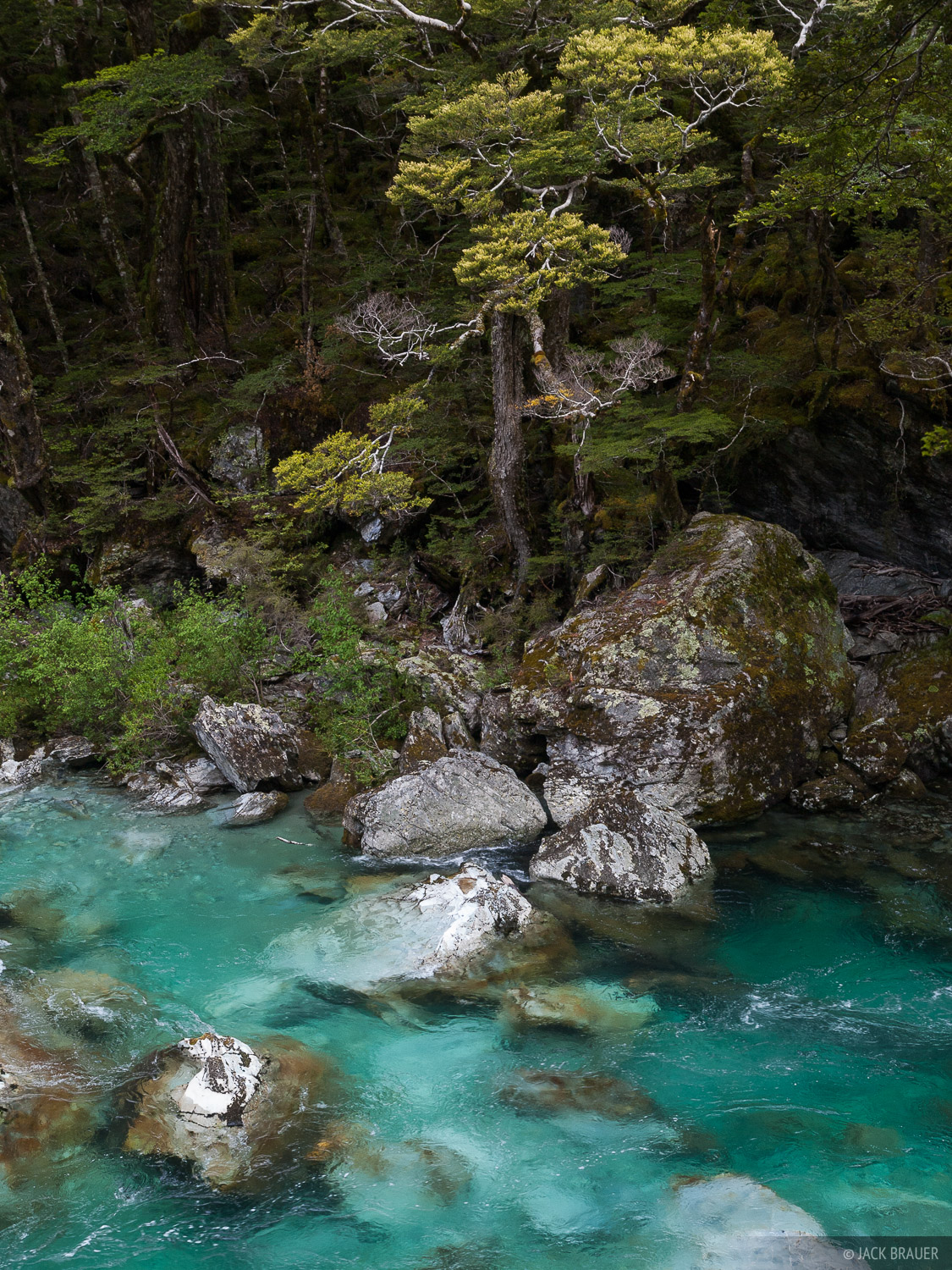 The gorgeous turquoise Route Burn river.