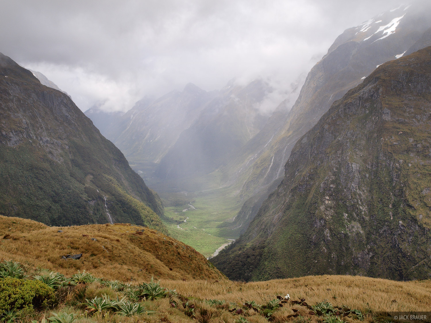 Looking down Clinton Canyon from Mackinnon Pass along the Milford Track.