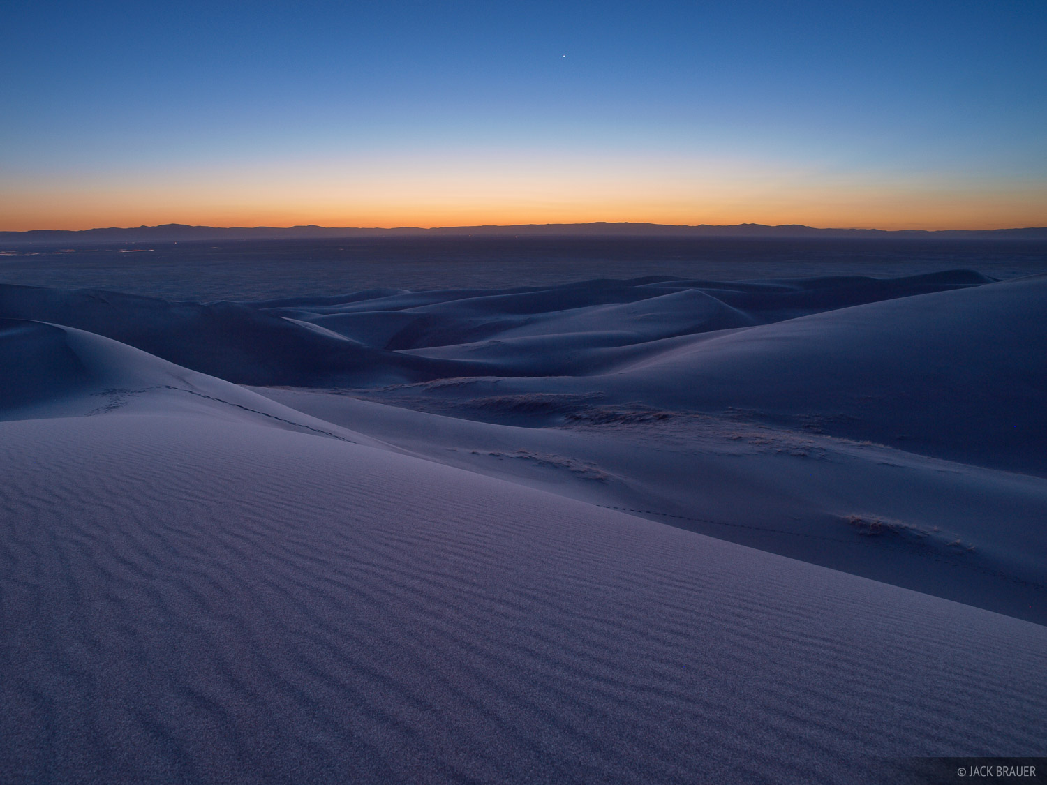 Looking west at the twilight sky over the San Luis Valley, as seen from the western part of the Great Sand Dunes.
