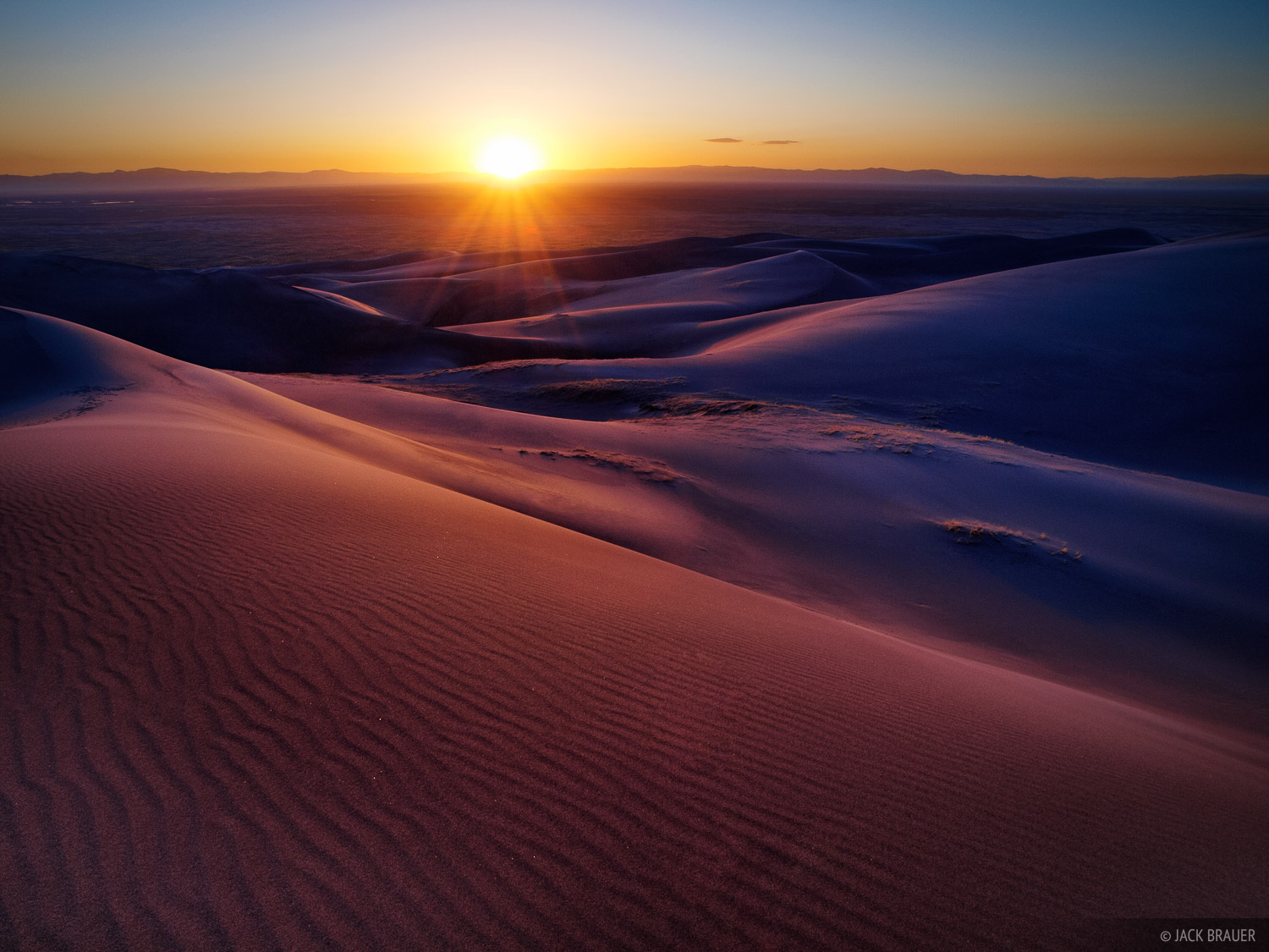 Sunset over the San Luis Valley, as seen from in the dunes.