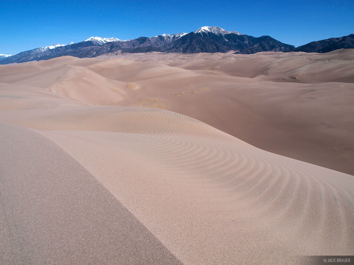 Mount Herard and the Sangre de Cristos rise above the Great Sand Dunes.