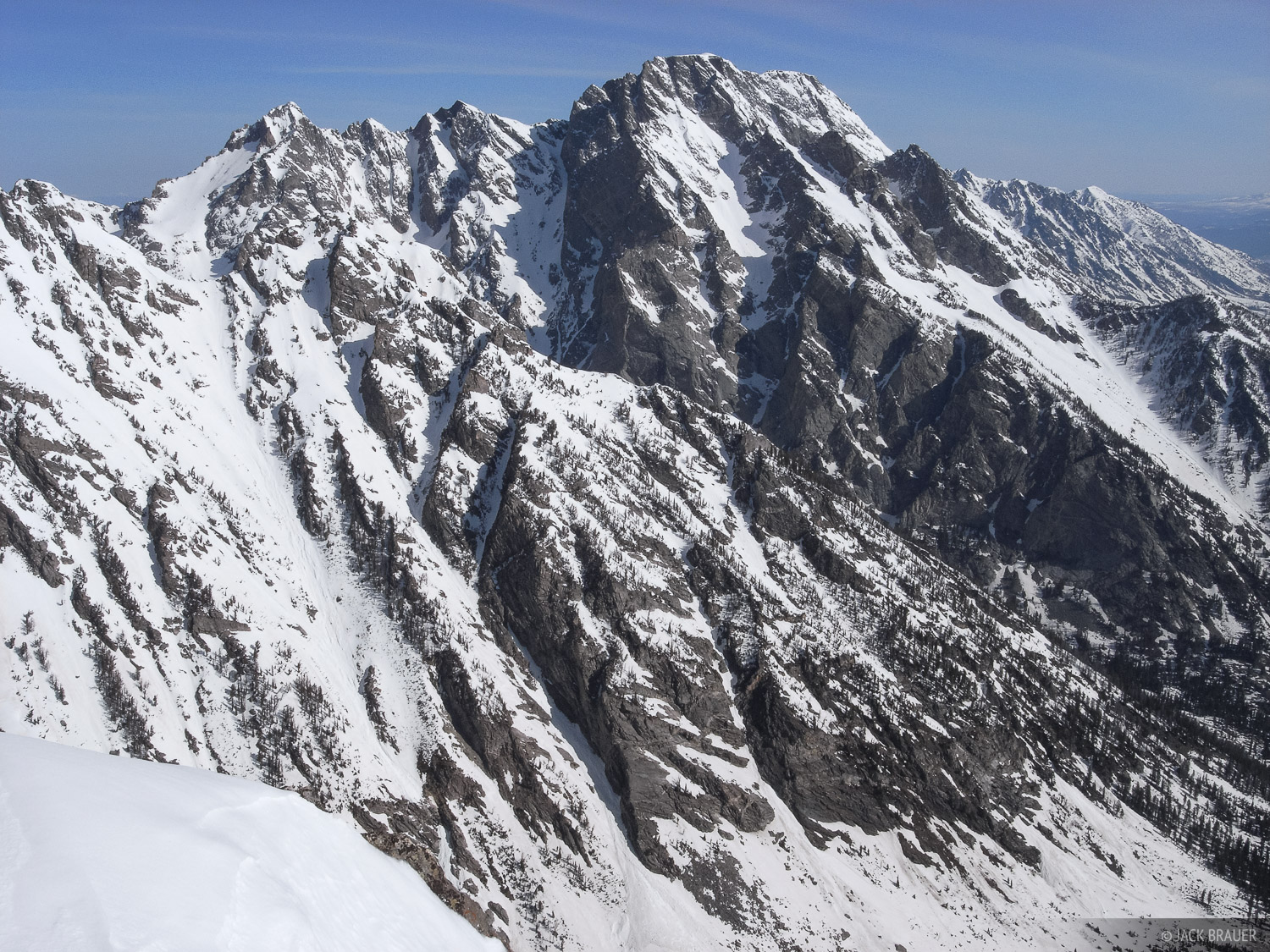 The rugged southern slopes of Mt. Moran, as seen from the summit of Rockchuck Peak.