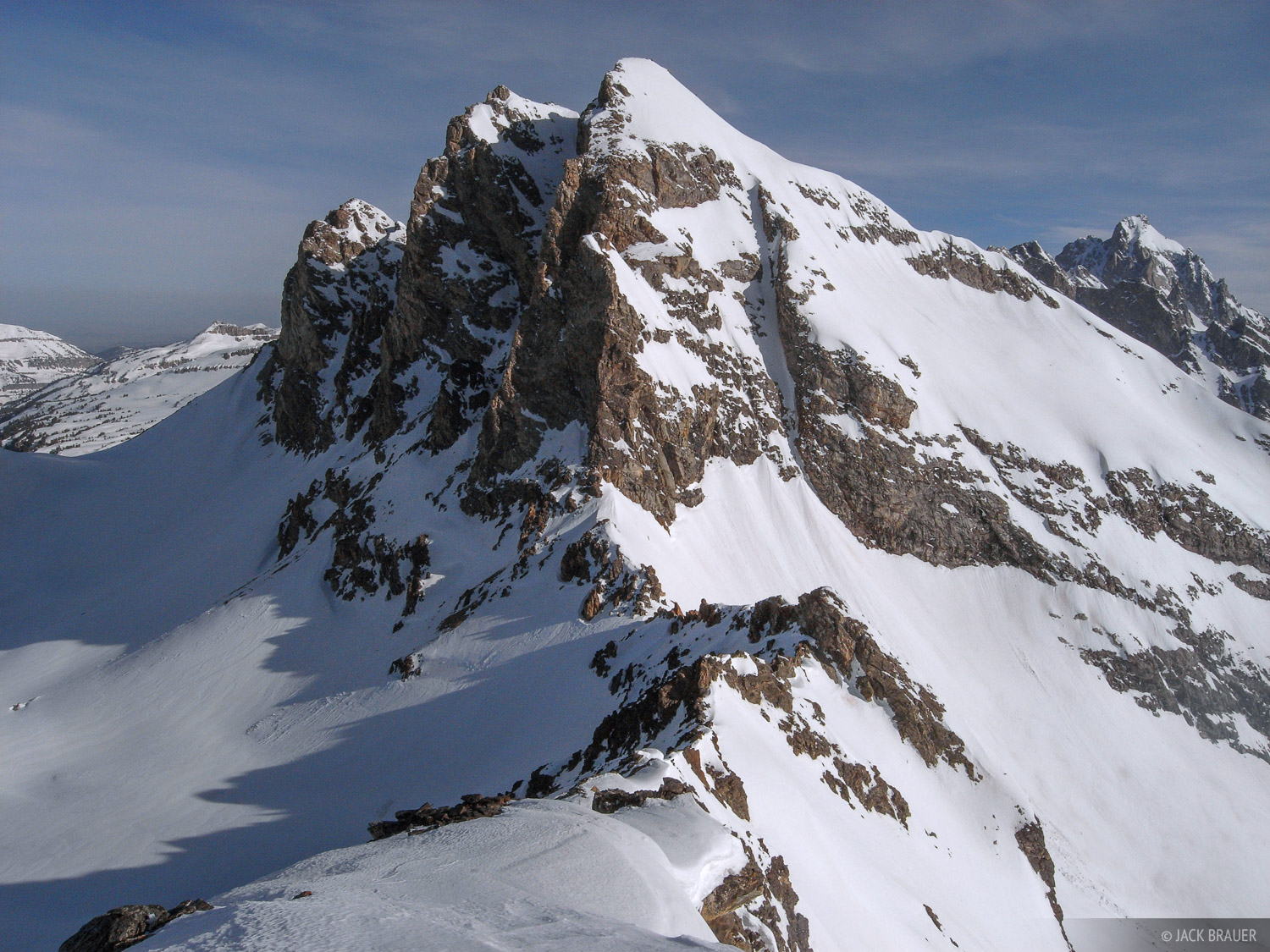 The burly Buck Mountain, 11,938 feet, as seen from the summit of Static Peak - May.