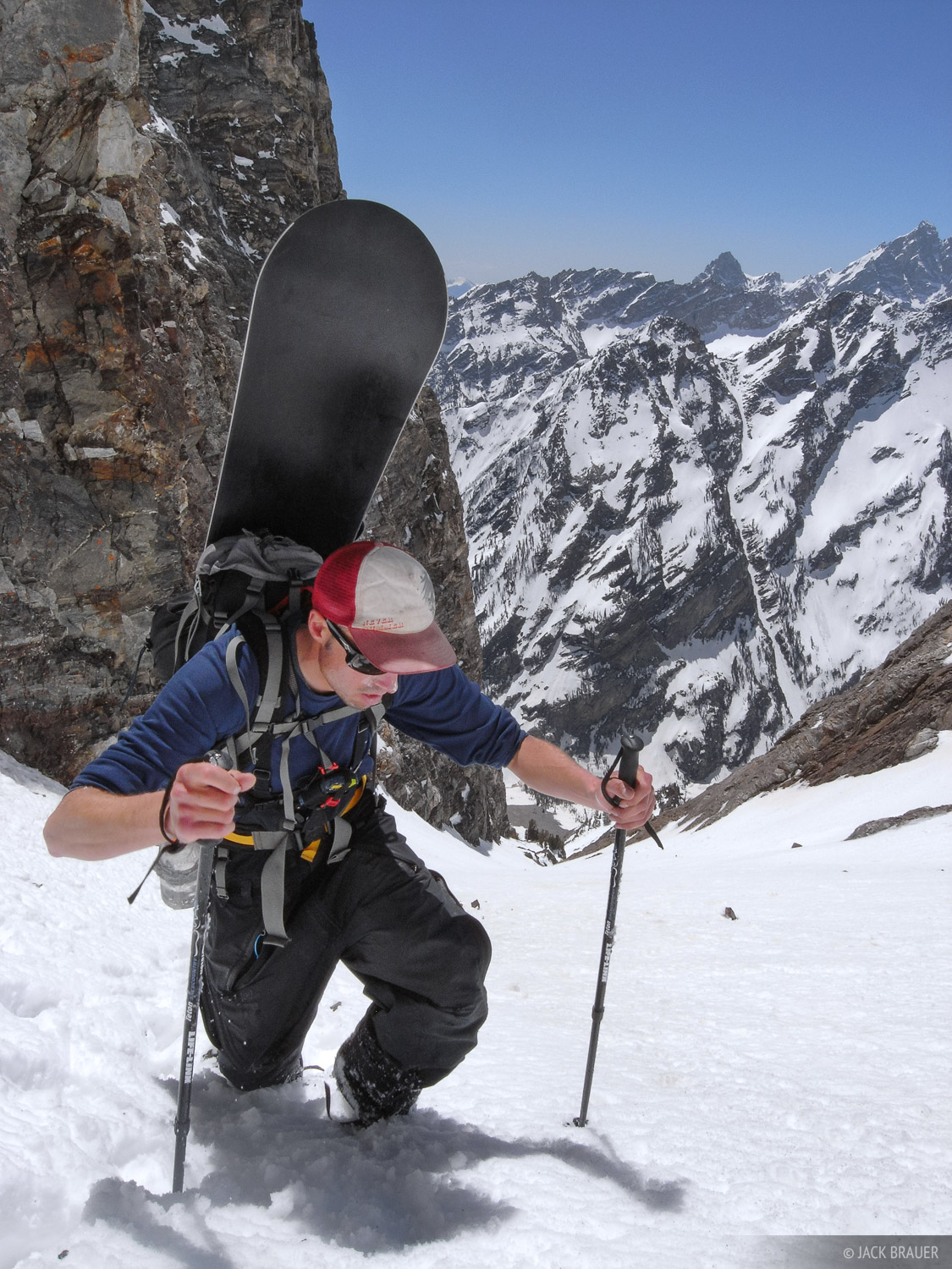 Bootpacking up the long southwestern couloir on Mt. Moran.