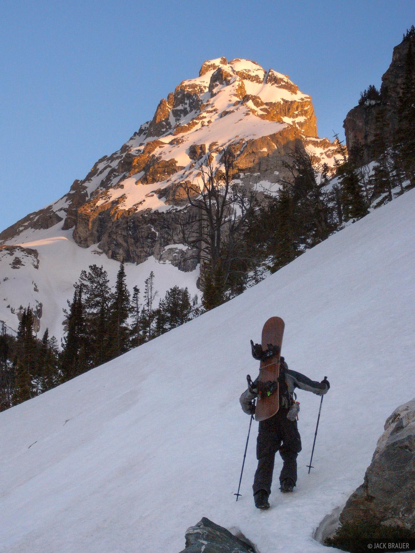 Hiking up the Middle Teton at sunrise