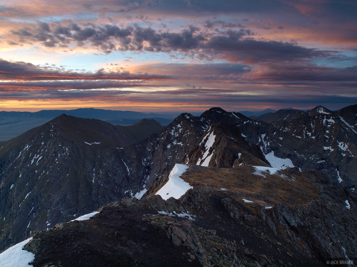 Awesome sunrise as seen from the summit of Broken Hand Peak, 13,573 feet - June.
