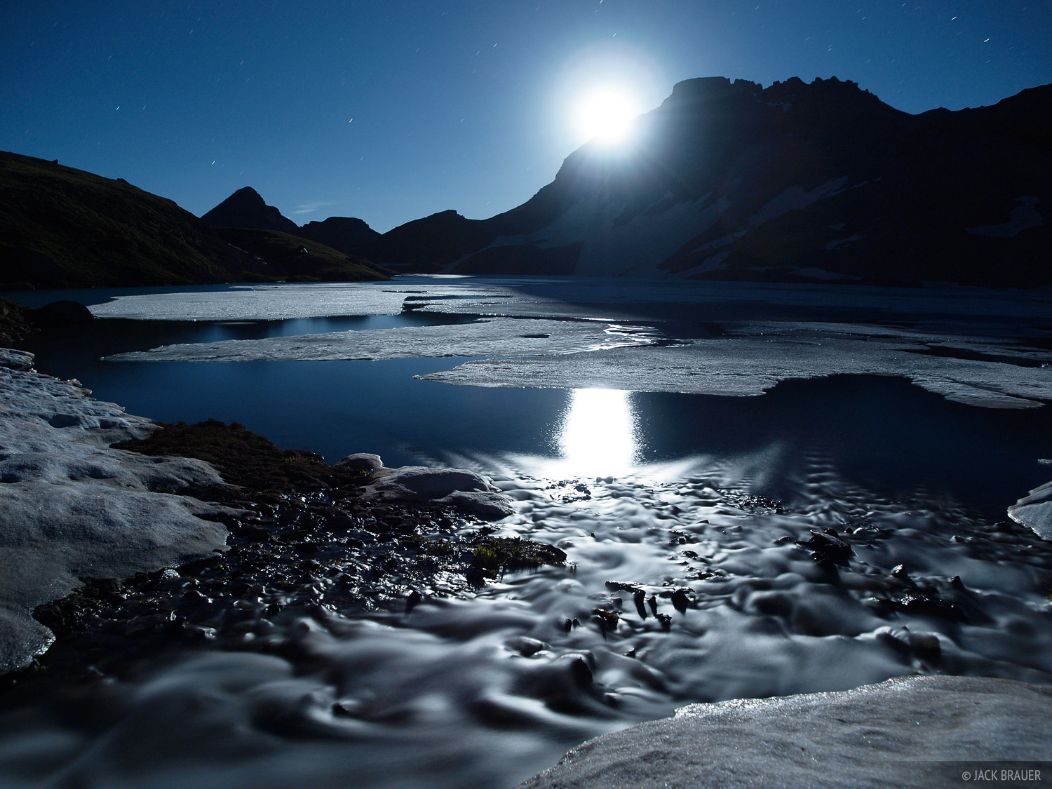 Columbine Lake, Moon, San Juan Mountains, Colorado, photo
