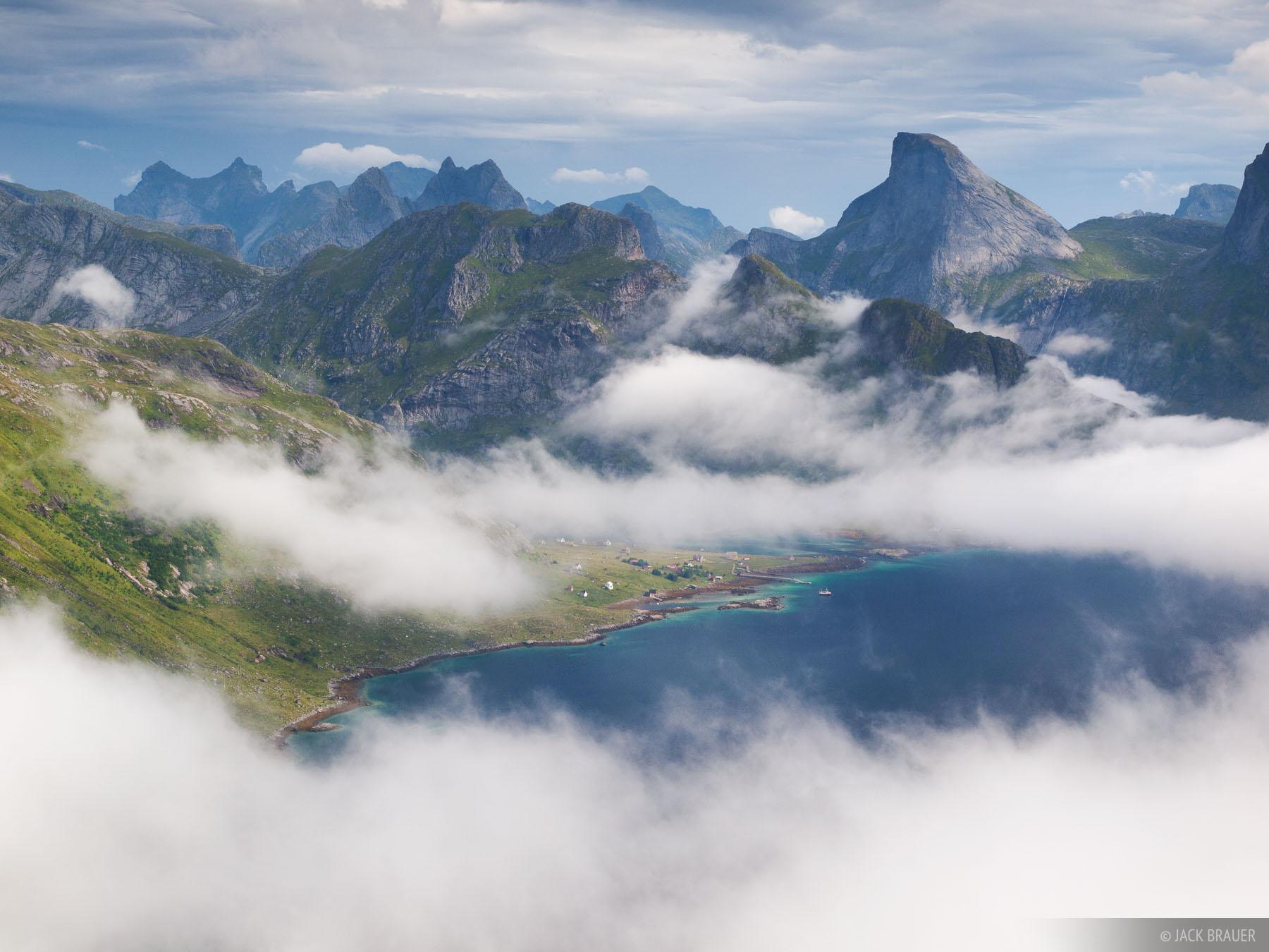 Kjerkfjorden and the little settlement of Vindstad on Moskenesøya Island.