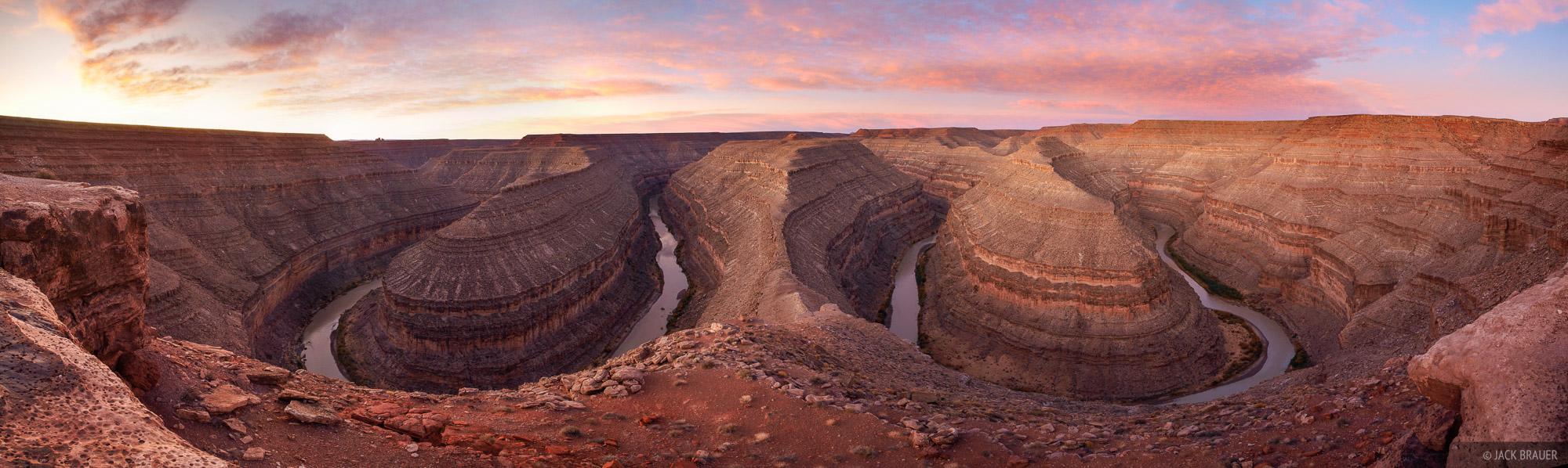 Great Goosenecks, San Juan River, panorama, river meander, Utah