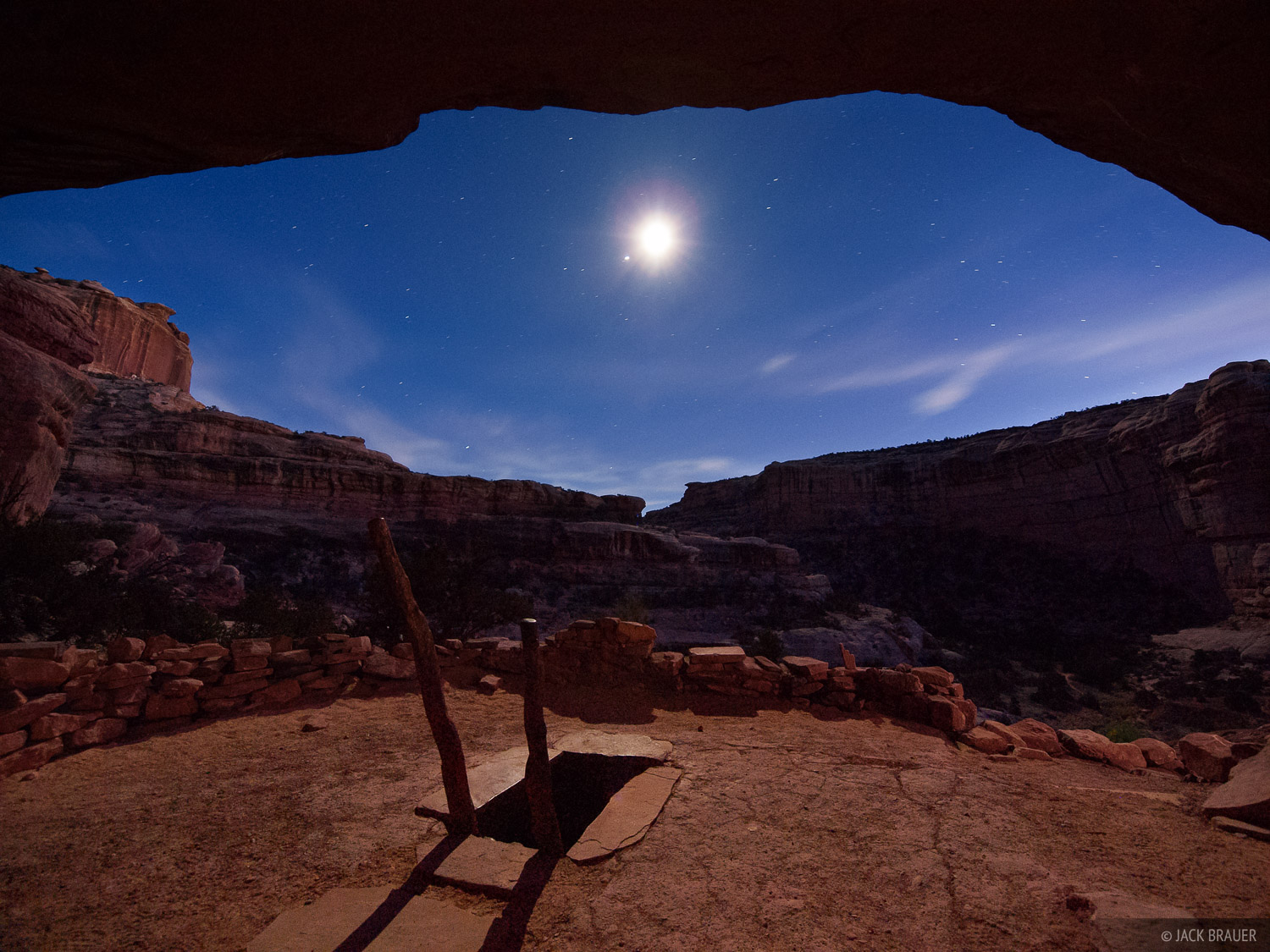 Grand Gulch, kiva, Utah, moonlight, Bears Ears National Monument, photo