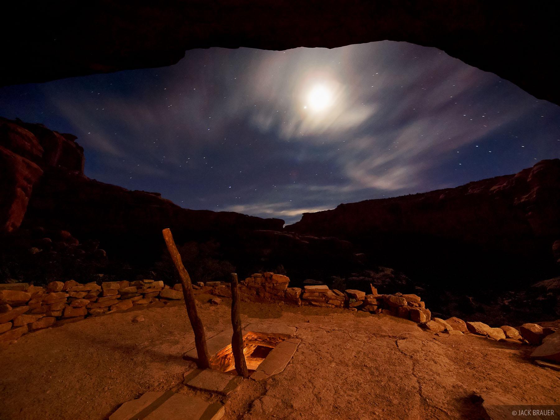 Grand Gulch, kiva, Utah, night, Bears Ears National Monument, photo