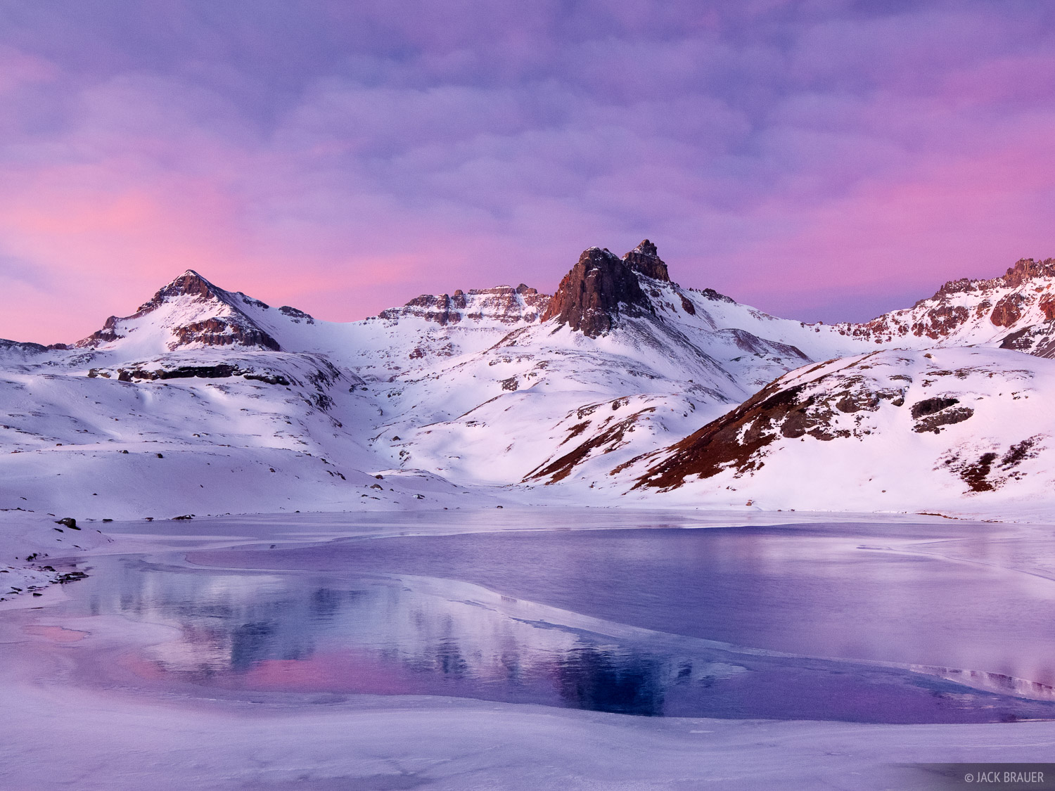 A gorgeous sunrise over snowy Ice Lakes Basin, November.