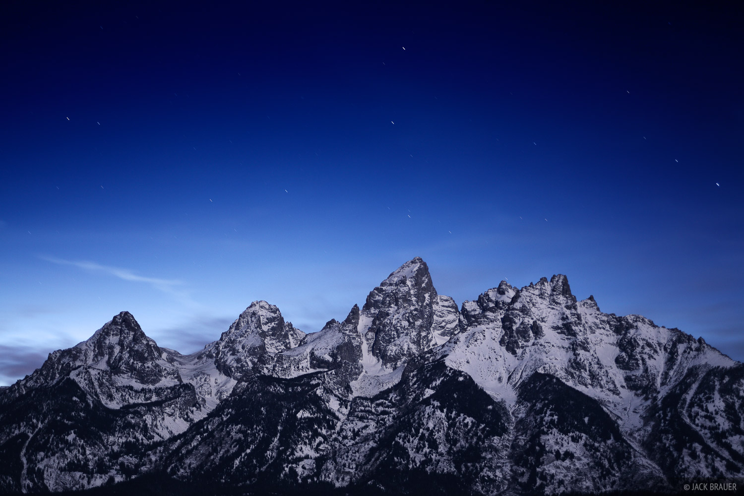 Moonlight illuminates the Tetons, November.
