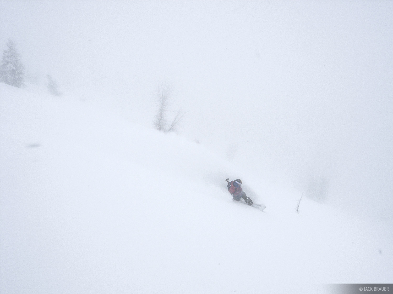 Mot Gatehouse slashes a big powder carve in near whiteout conditions in Grand Teton National Park - December.