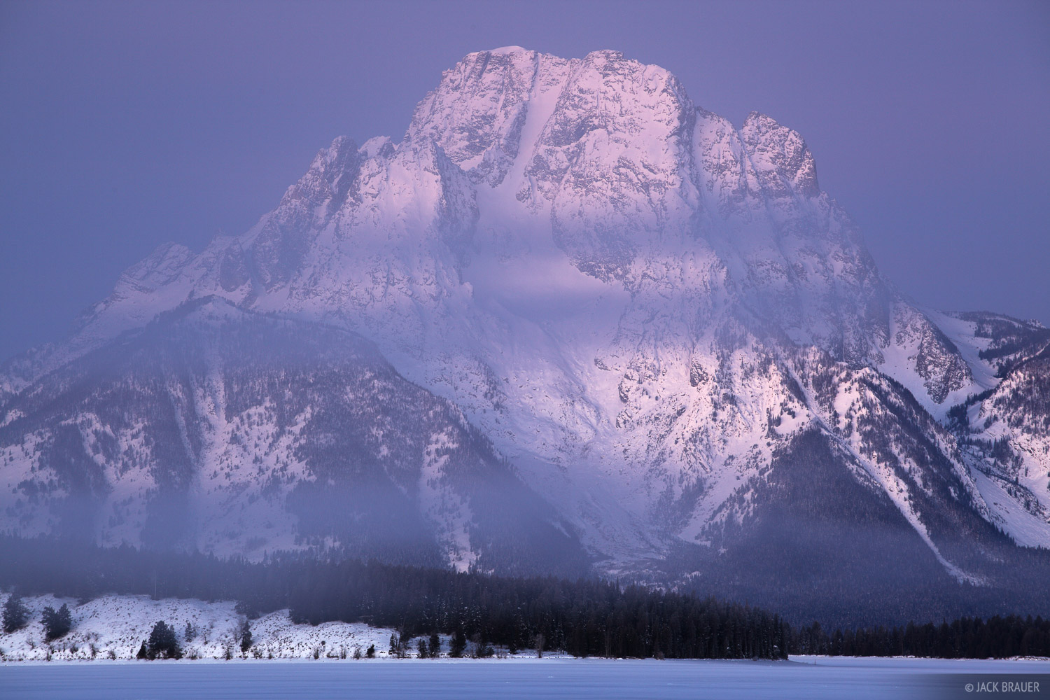 Mt. Moran, foggy, dawn, Jackson Lake, Wyoming, Tetons, photo