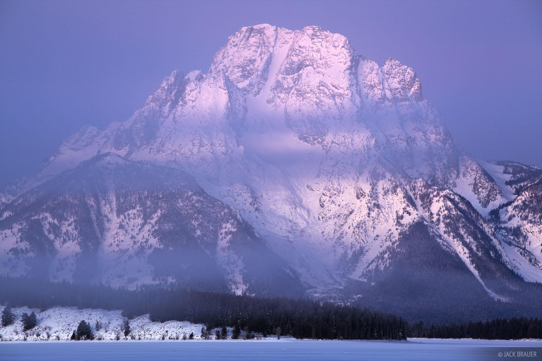 Mt. Moran, foggy, dawn, Jackson Lake, Wyoming, Tetons, Grand Teton National Park, photo