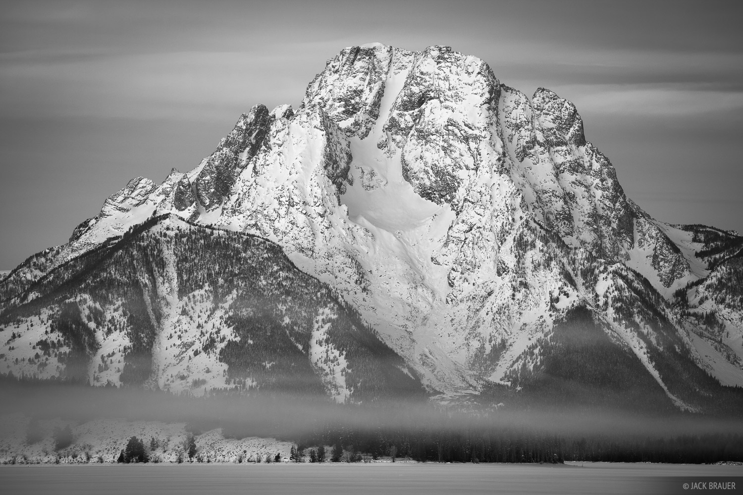 Jackson Lake, Tetons, Wyoming, bw, Mount Moran, Grand Teton National Park, photo