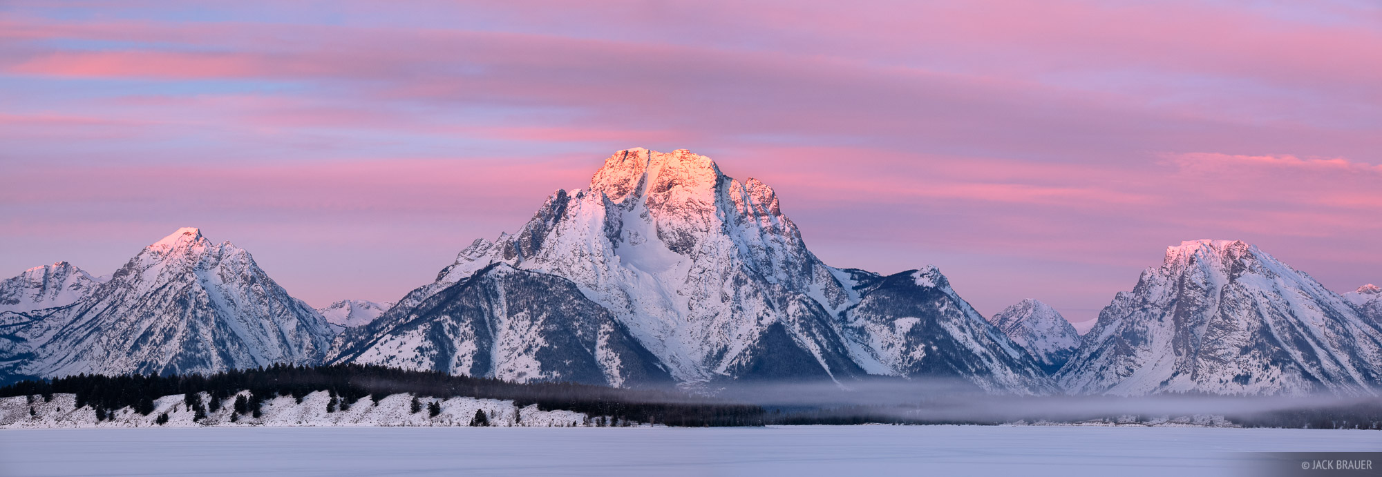 Mt. Moran, Tetons, Wyoming, sunrise, Jackson Lake, winter, panorama, Grand Teton National Park