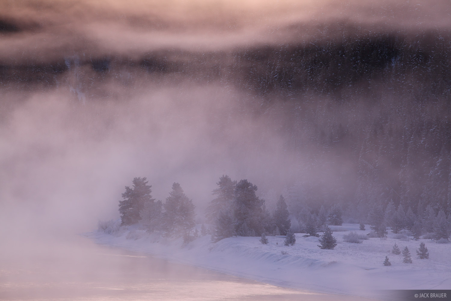Snake River, Jackson Hole, Wyoming, mist, winter, photo