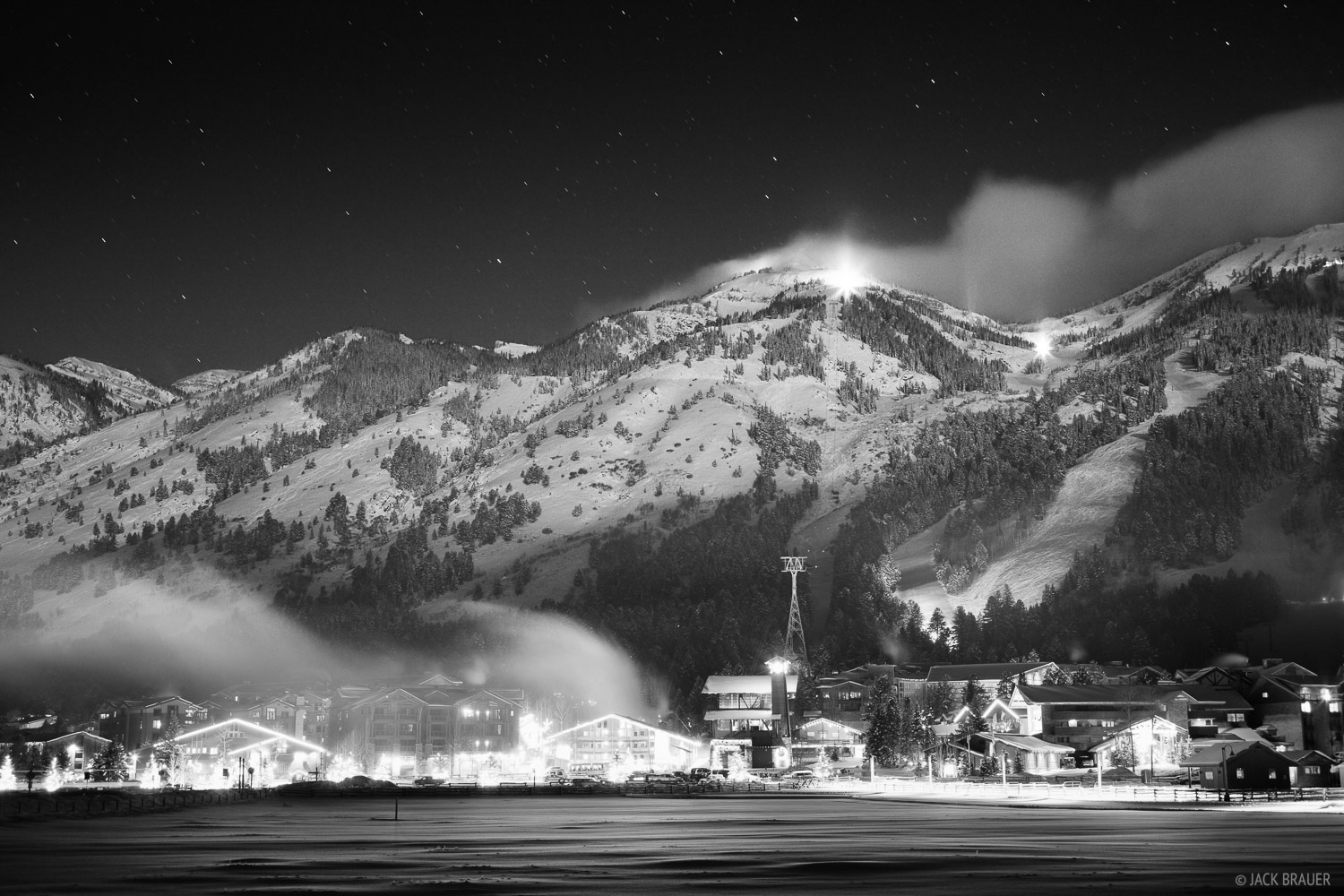 Tetons, Wyoming, moonlight, Teton Village, bw, photo