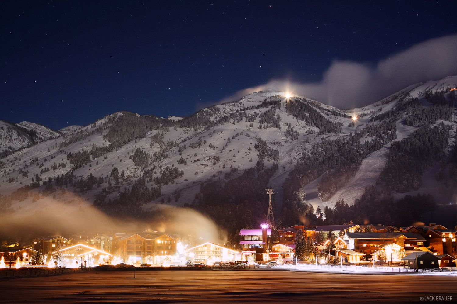 Jackson Hole, Teton Village, Wyoming, night, photo