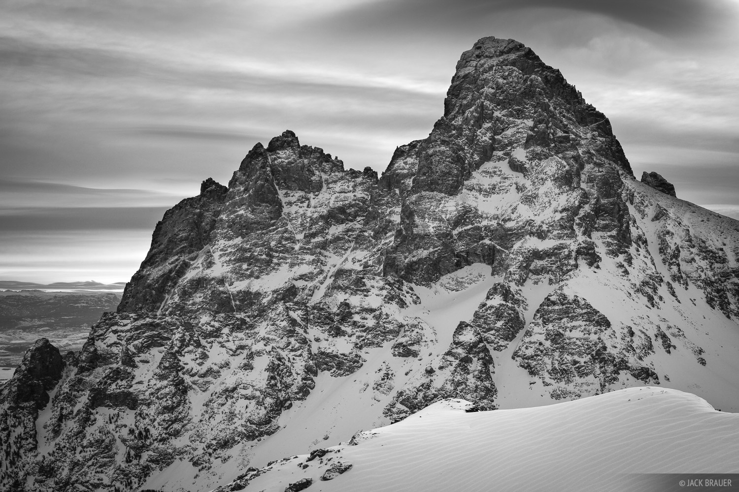 Tetons, Wyoming, bw, Grand Teton, Table Mountain, January, Grand Teton National Park, photo