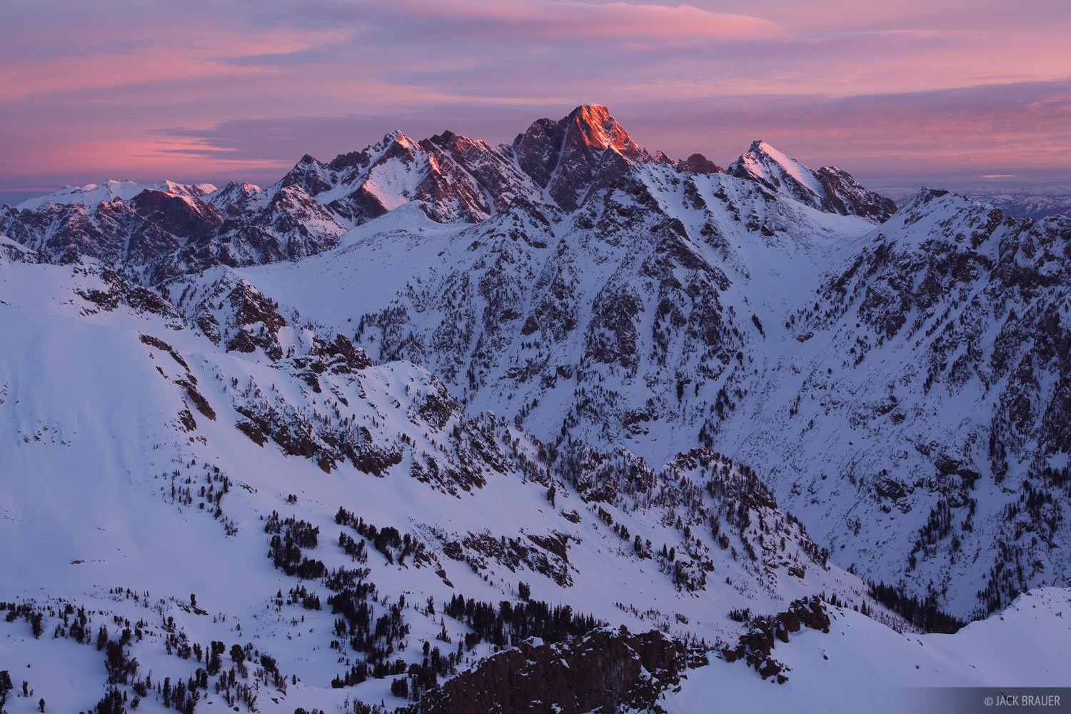 Mt. Moran, sunrise, alpenglow, Tetons, Wyoming, Grand Teton National Park, photo