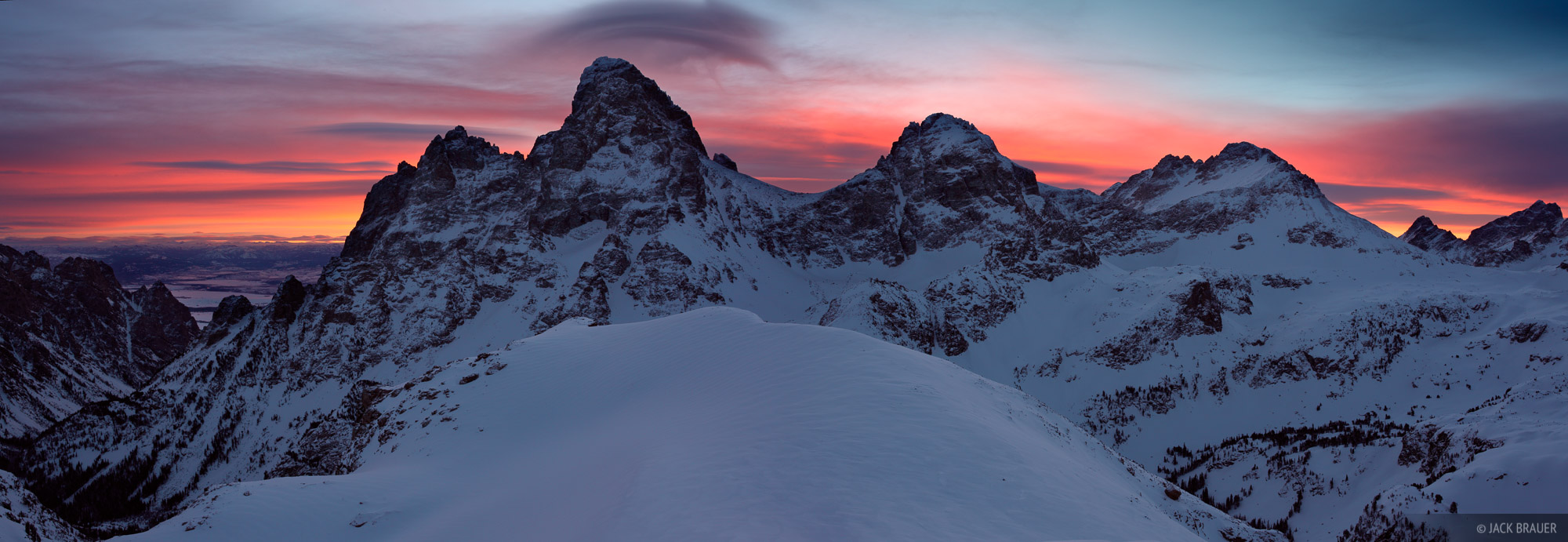 Sunrise panorama as seen from the summit of Table Mountain, January.  From left to right are Mt. Owen, Grand Teton, Middle Teton...