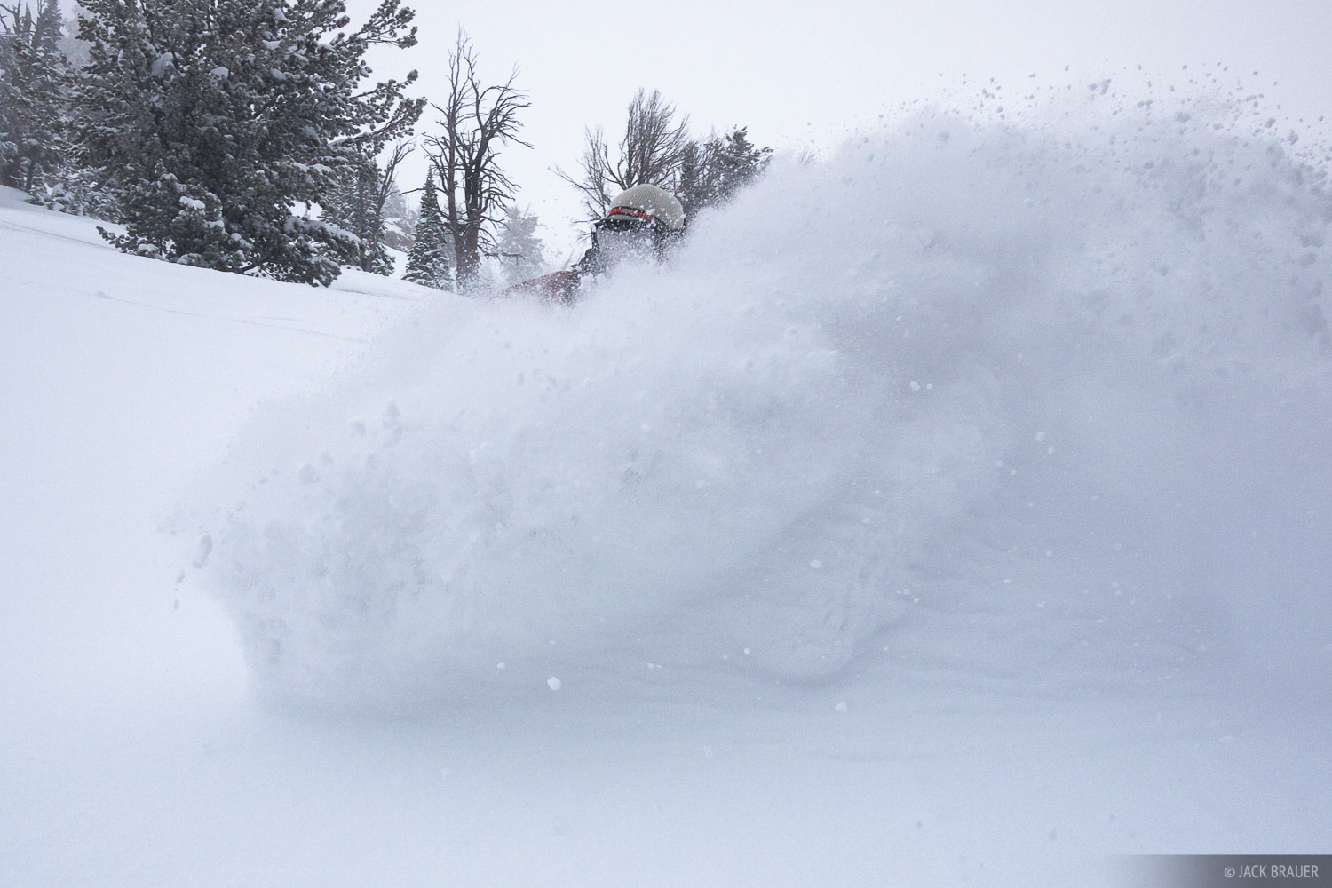 Carving some deep powder - February.  Snowboarder: Mike Bryson.