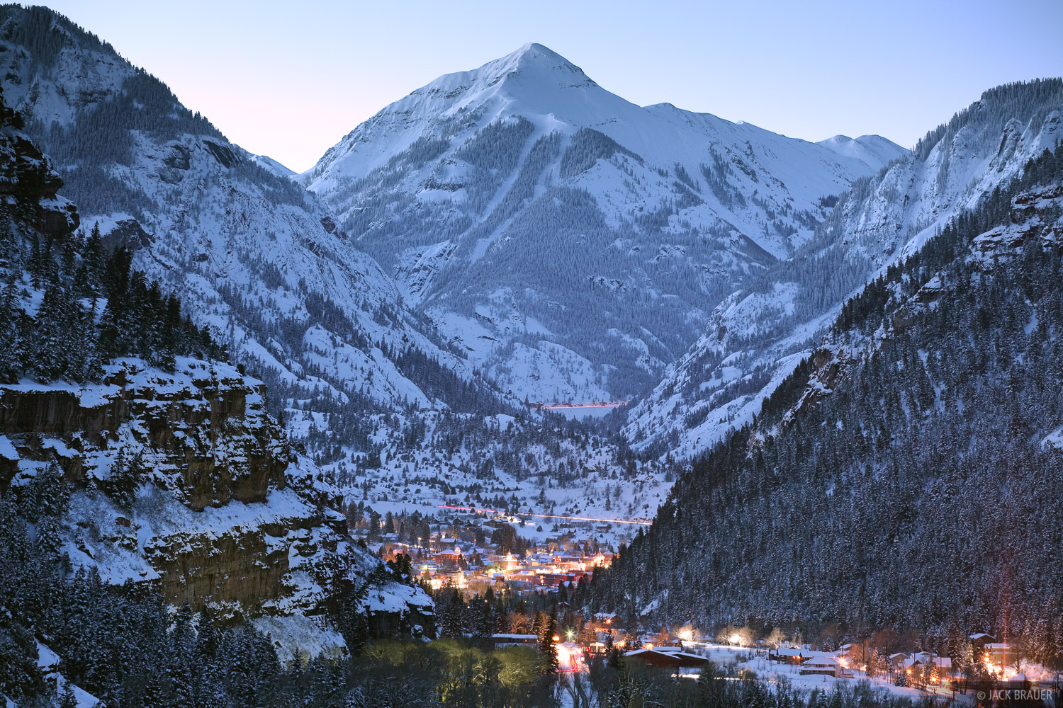 Mt. Abrams towers above the town of Ouray, Colorado on a clear winter morning in February.