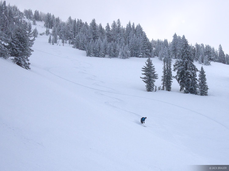 Skiing, snowboarding, tracks, Jackson Hole, Wyoming, photo