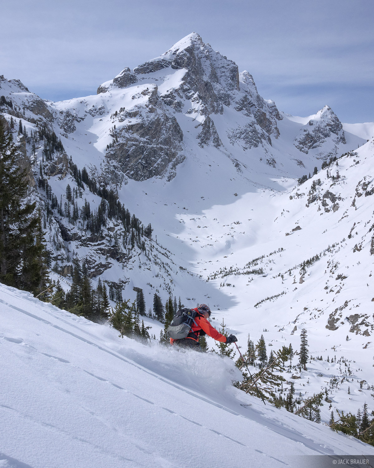 Ann Driggers skis some powder, with a spectacular backdrop of Buck Mountain, Tetons, Wyoming - March.