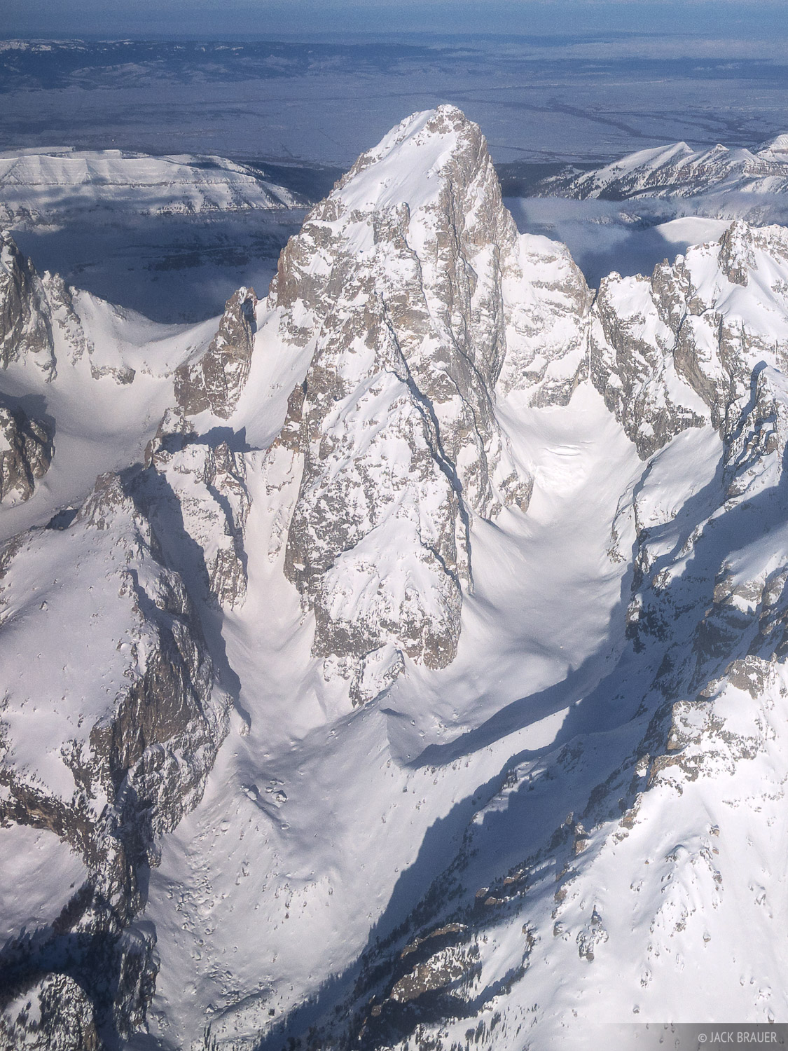 Grand Teton, aerial, Teton Glacier, Tetons, Wyoming, winter, photo