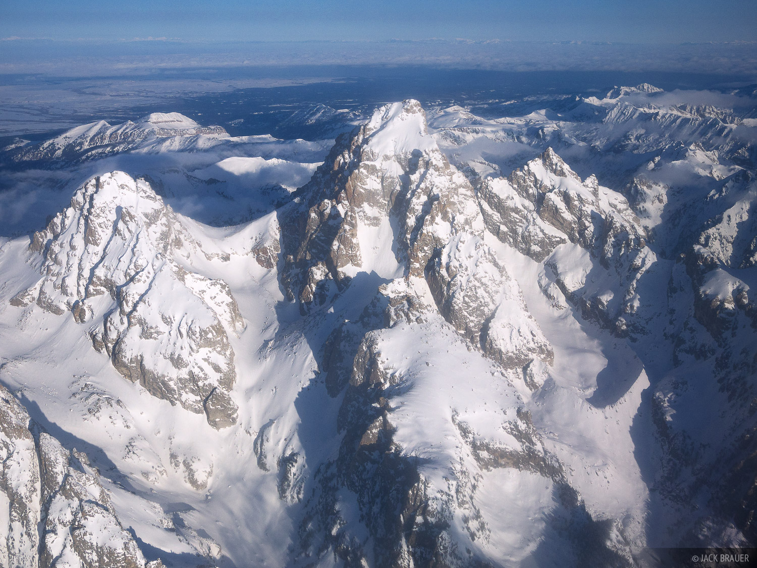 Grand Teton, aerial, Middle Teton, Mount Owen, Garnet Canyon, Glacier Gulch, Tetons, Wyoming, photo