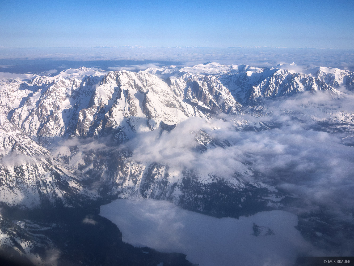 Mount Moran, aerial, Leigh Lake, Grand Teton National Park, Wyoming, photo