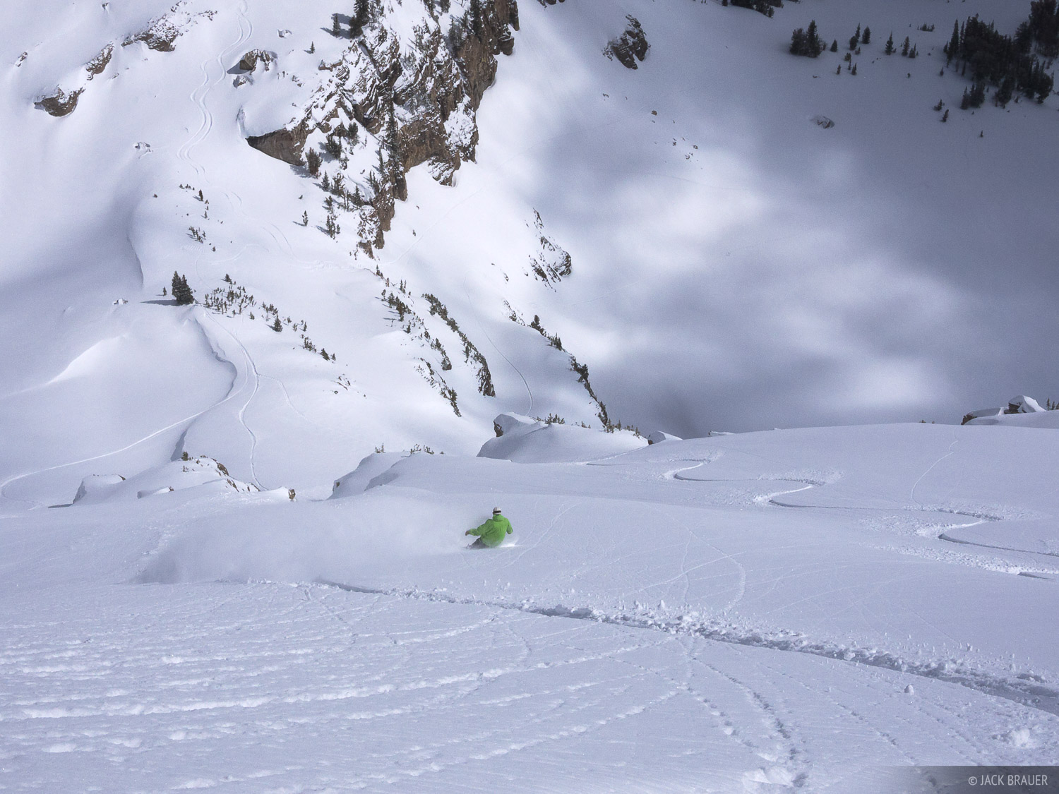 Rajat Bhayani lays out a high speed carve in the Jackson Hole backcountry - March.