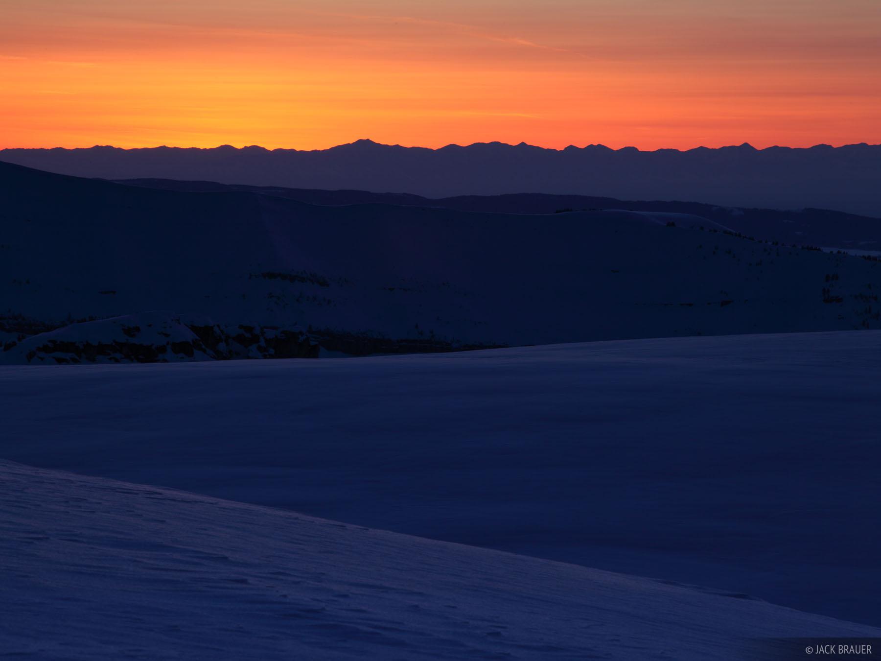 sunset, snow, Tetons, Wyoming, photo