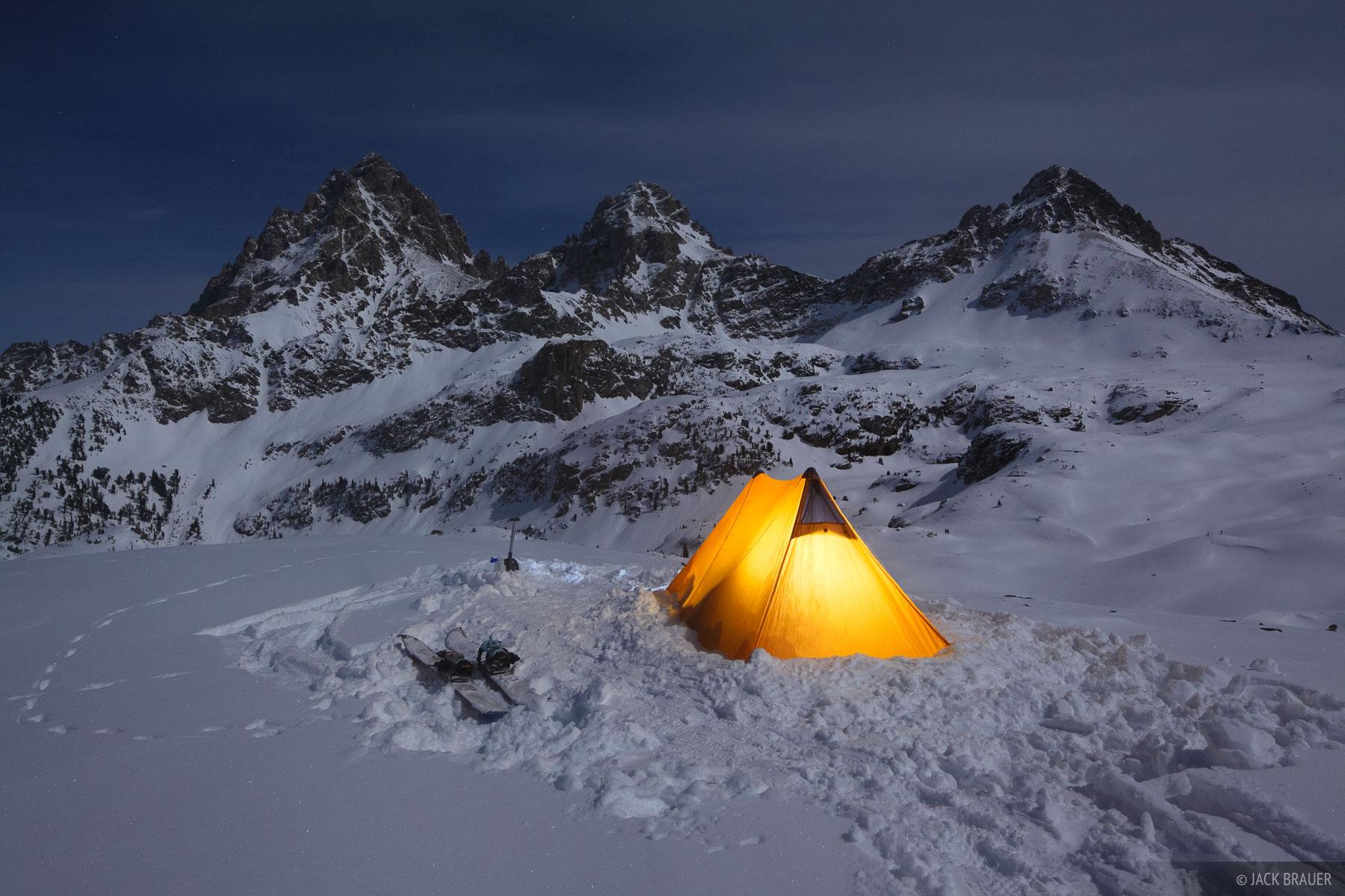 Hurricane Pass, Tetons, Wyoming, camp, night, photo