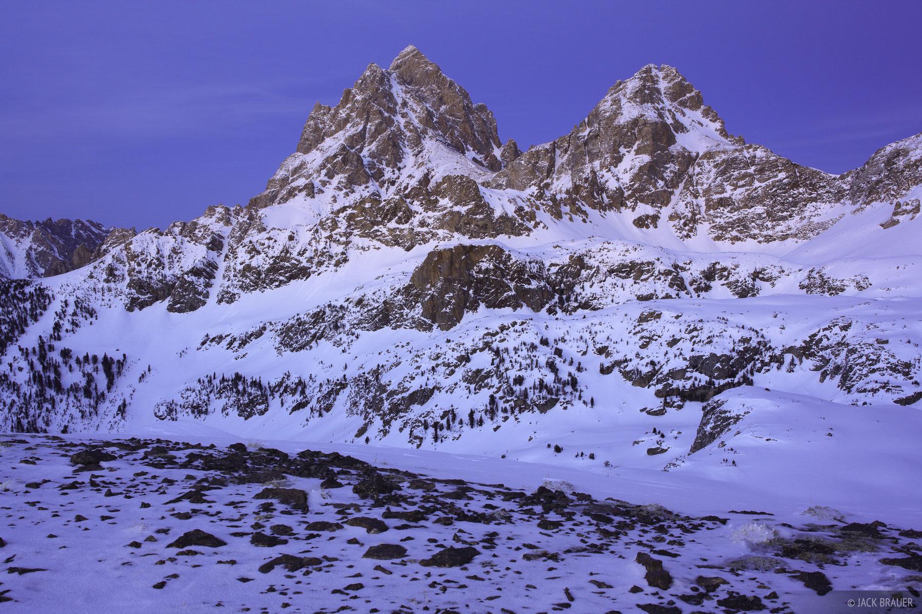 Tetons,Wyoming, twilight, Hurricane Pass, March, photo