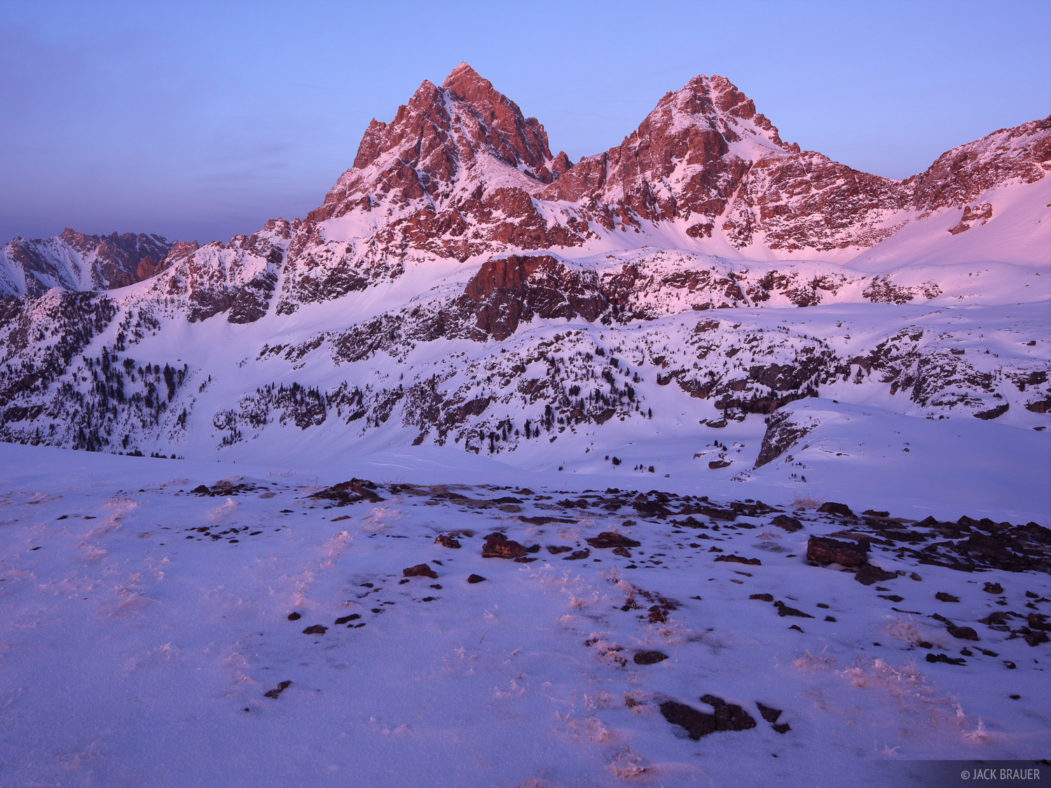 alpenglow, Tetons, Wyoming, winter, sunset, hurricane pass, Grand Teton National Park, photo