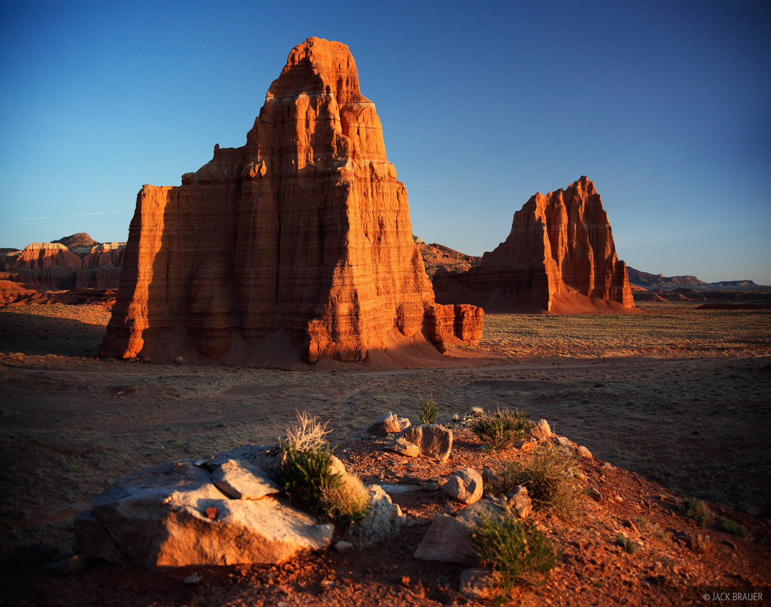 Temple of the Moon, Temple of the Sun, Lower Cathedral Valley, Capitol Reef National Park, Utah, sunrise, photo