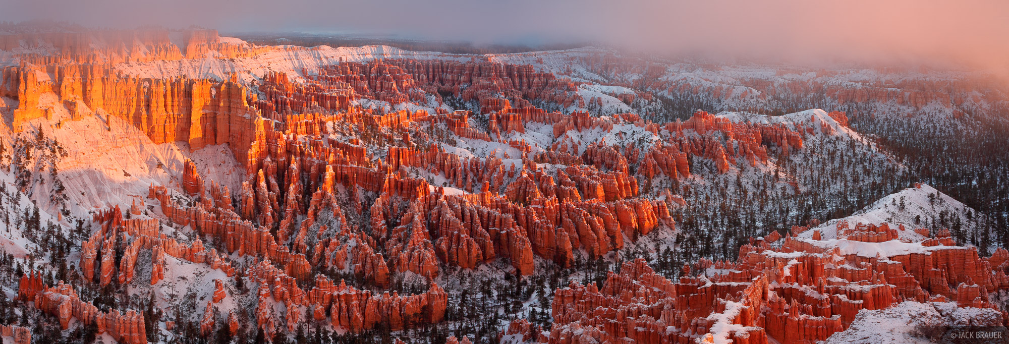 Bryce Canyon National Park, Bryce Point, snowy, sunrise, Utah